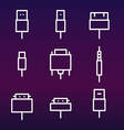 Cable wire computer and plug icons set vector image vector image