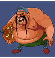 cartoon angry fat man with a pumpkin under his arm vector image vector image