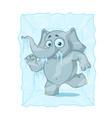 character elephant frozen in ice cartoon vector image