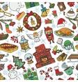 christmas season doodle symbols seamless pattern vector image vector image