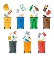 Colored garbage cans with waste types vector image