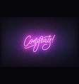 congrats neon sign glowing neon lettering vector image vector image