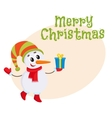 Cute and funny little snowman decorating a vector image