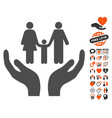 family care hands icon with valentine bonus vector image vector image