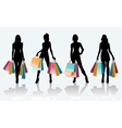 Female black silhouette with shopping bags vector image vector image