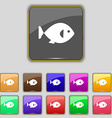 fish icon sign Set with eleven colored buttons for vector image vector image