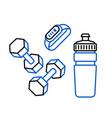 fitness bracelet sport water bottle and dumbbells vector image vector image