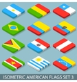 Flat Isometric American Flags Set 3 vector image