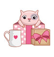 gift box present with cute cat vector image vector image