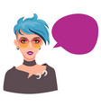 girl with speech bubble blue haired teenage girl vector image