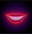 glow beautiful smile with braces and red lips vector image vector image