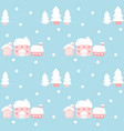 house and pine tree in winter pattern vector image