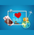 i love travel logo vacation concept with vector image vector image