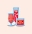 kawaii cocktails drinks vector image vector image