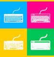 keyboard simple sign four styles of icon on four vector image