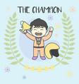 kid champion get medals win racing vector image vector image