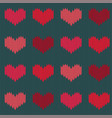 knitted woolen seamless pattern with hearts vector image