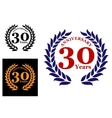 Laurel wreath with 30 years anniversary vector image vector image