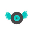 lp vinyl record with open wings rock music icon vector image