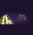 merry christmas card with fir tree violet vector image vector image