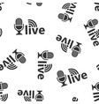microphone icon seamless pattern background live vector image vector image