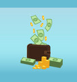 money and coins falling into a leather wallet vector image vector image