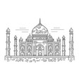 outline of taj mahal palace icon vector image vector image