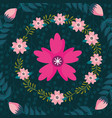 pink flower wreath floral background decoration vector image vector image