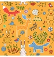 Seamless pattern of animals in the forest vector image vector image
