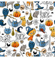 seamless pattern with halloween symbols endless vector image