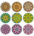 Set of 9 colorful round ornaments kaleidoscope flo vector image vector image