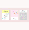 set of artistic hand drawn creative greeting cards vector image