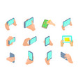 smartphone in hand icon set cartoon style vector image vector image
