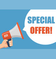 special offer - male hand holding megaphone vector image
