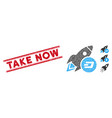 textured take now line seal with mosaic dash vector image vector image