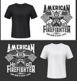 tshirt print with firefighters equipment gas mask vector image vector image