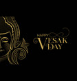 vesak day card traditional gold buddha face vector image vector image