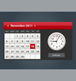 web and ui calendar with clock icon vector image vector image