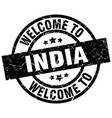 welcome to india black stamp vector image vector image