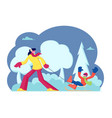 wintertime activity happy family mother and son vector image vector image