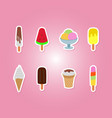 icons set with ice cream vector image