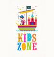 kids zone sign - cartoon multicolored vector image