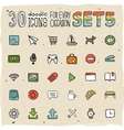 30 Colorful Doodle Icons Set 5 vector image vector image