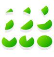 3d green piecharts process progress segment part vector image