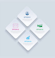 4 infographics rectangle paper index with data vector image vector image