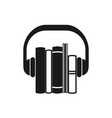 audiobooks black icon vector image vector image