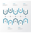 battle outline icons set collection of cranium vector image vector image
