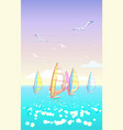 beautiful seascape windsurfers on horizon vector image vector image