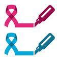 blue pink ribbon - prostate breast cancer symbol vector image
