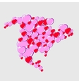 Bubble Hearts Map of North America vector image vector image